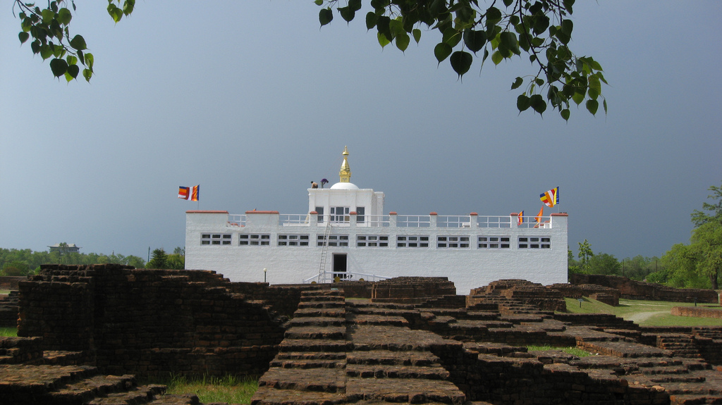 In Lumbini following steps of Buddha