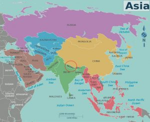 Nepal in the Asia Map