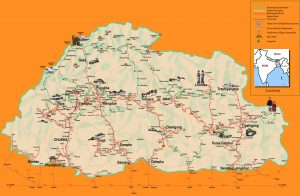 Bhutan Travel and Tourist Map