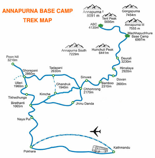Map of Annapurna Base Camp Trek ABC Trekking
