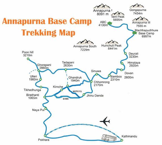 Annapurna Base Camp Trek Map Siwai Matkqu