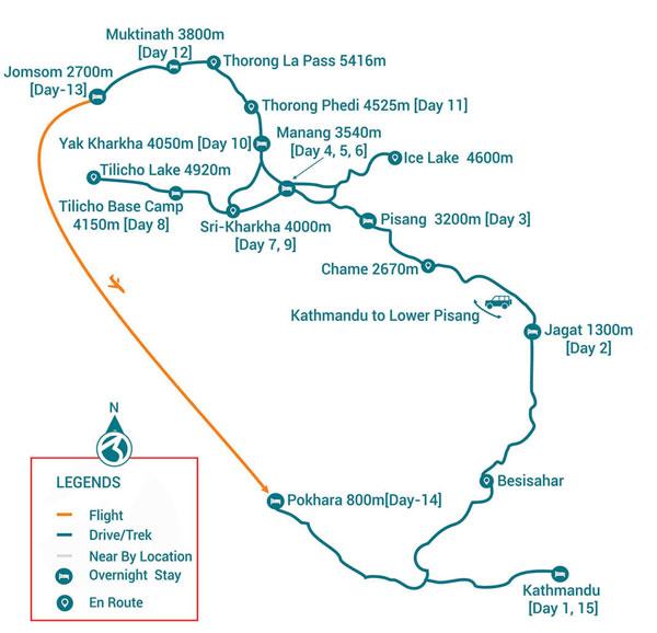 Besisahar to Jomsom Trek Map