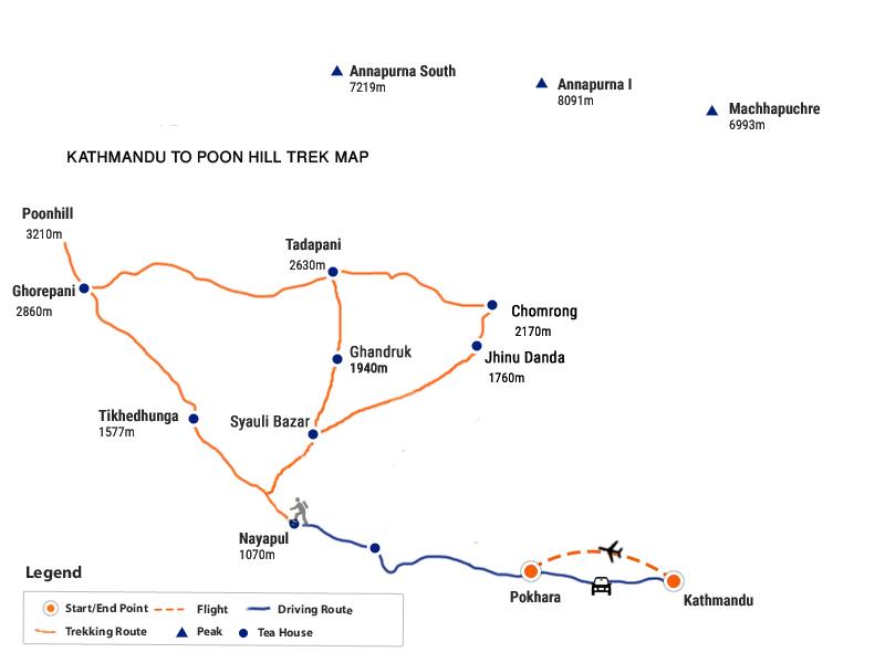 Kathmandu to Poon Hill Trek Map
