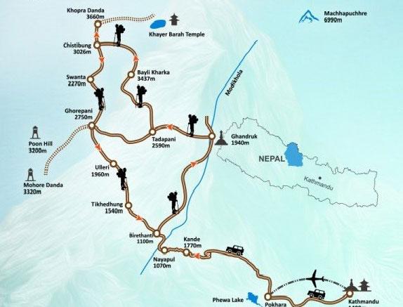 Khopra Danda Trek Map