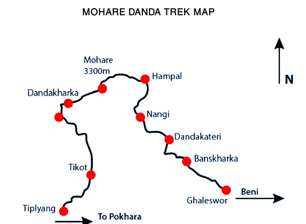 Mohare Danda Trek Map